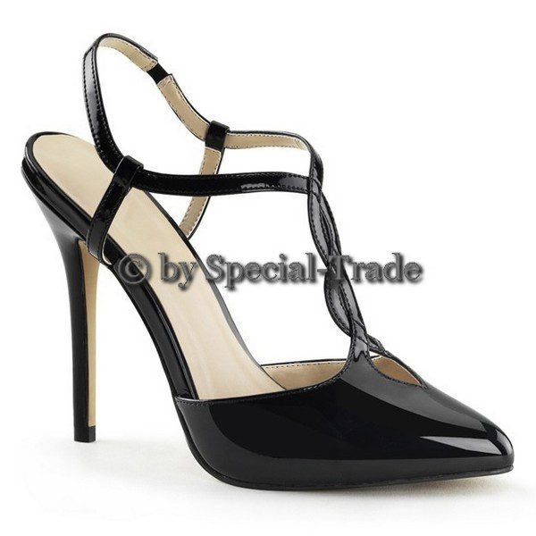 Sling pumps with t-strap, black patent leather