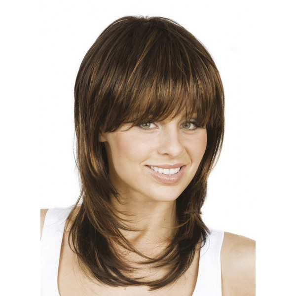 Wig, maroon and light brown